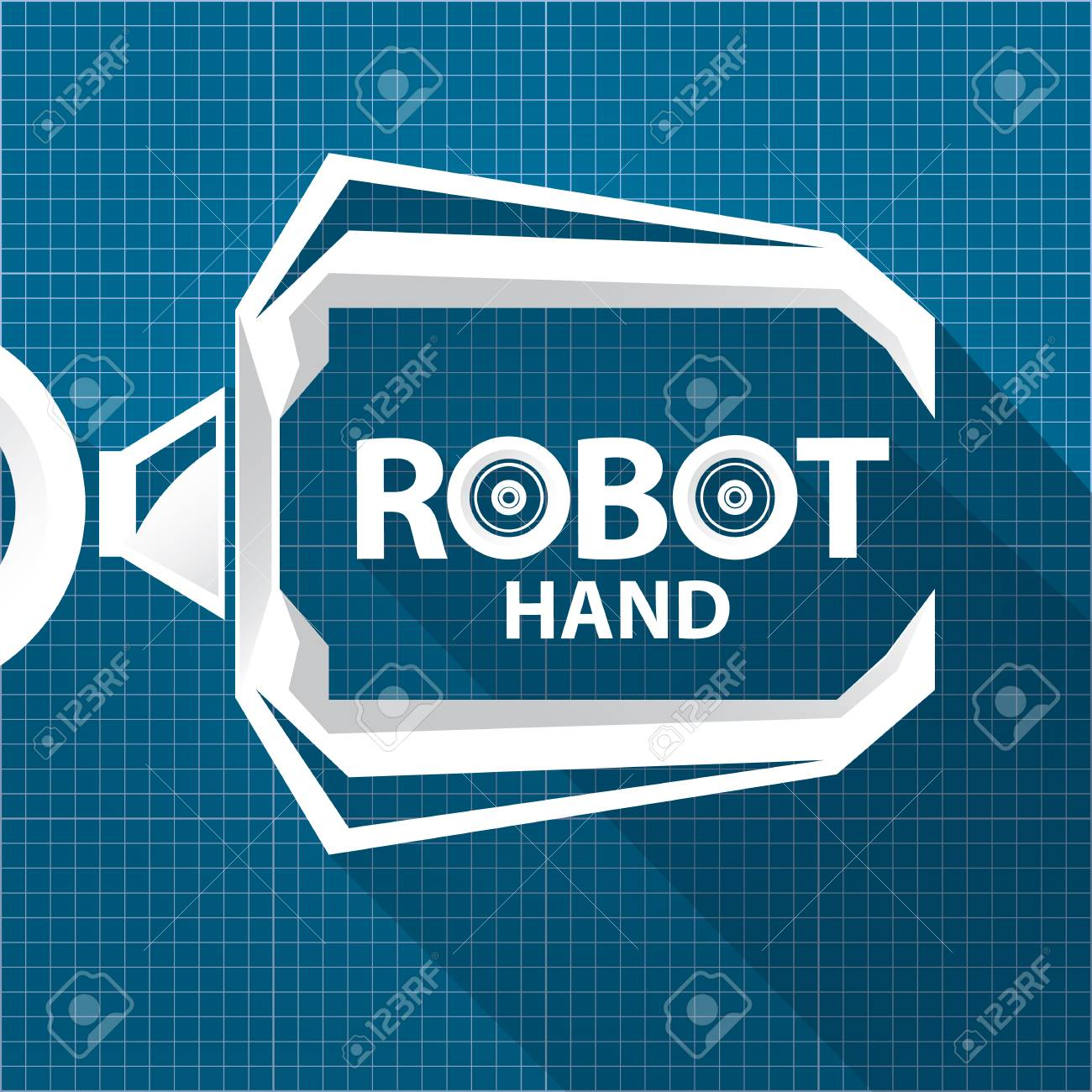 Vector robotic arm symbol on blueprint paper background robot vector vector robotic arm symbol on blueprint paper background robot hand technology background design malvernweather Choice Image