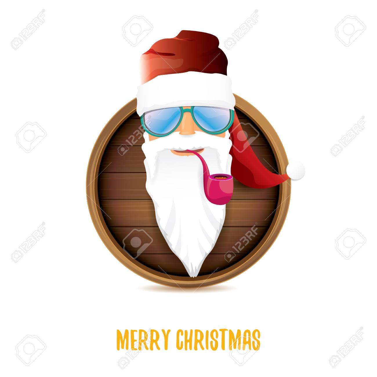 vector bad rock n roll dj santa claus with smoking pipe, funky