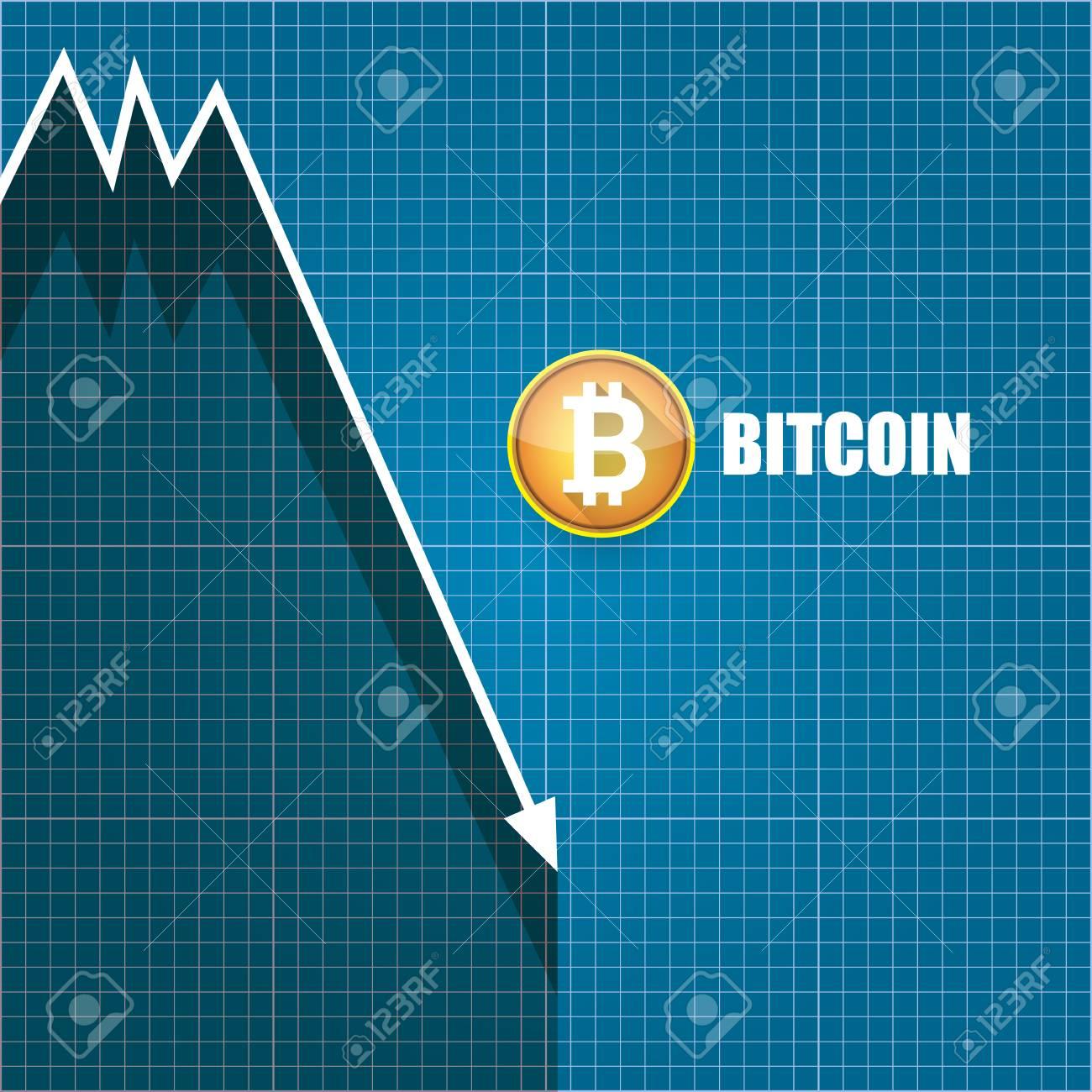 Vector   Vector Bitcoin Market Crash Graph On Blueprint Background. Bitcoin  Hype Concept Vector Illusrtation With Blank Space Fo Text. Depreciation Of  ...