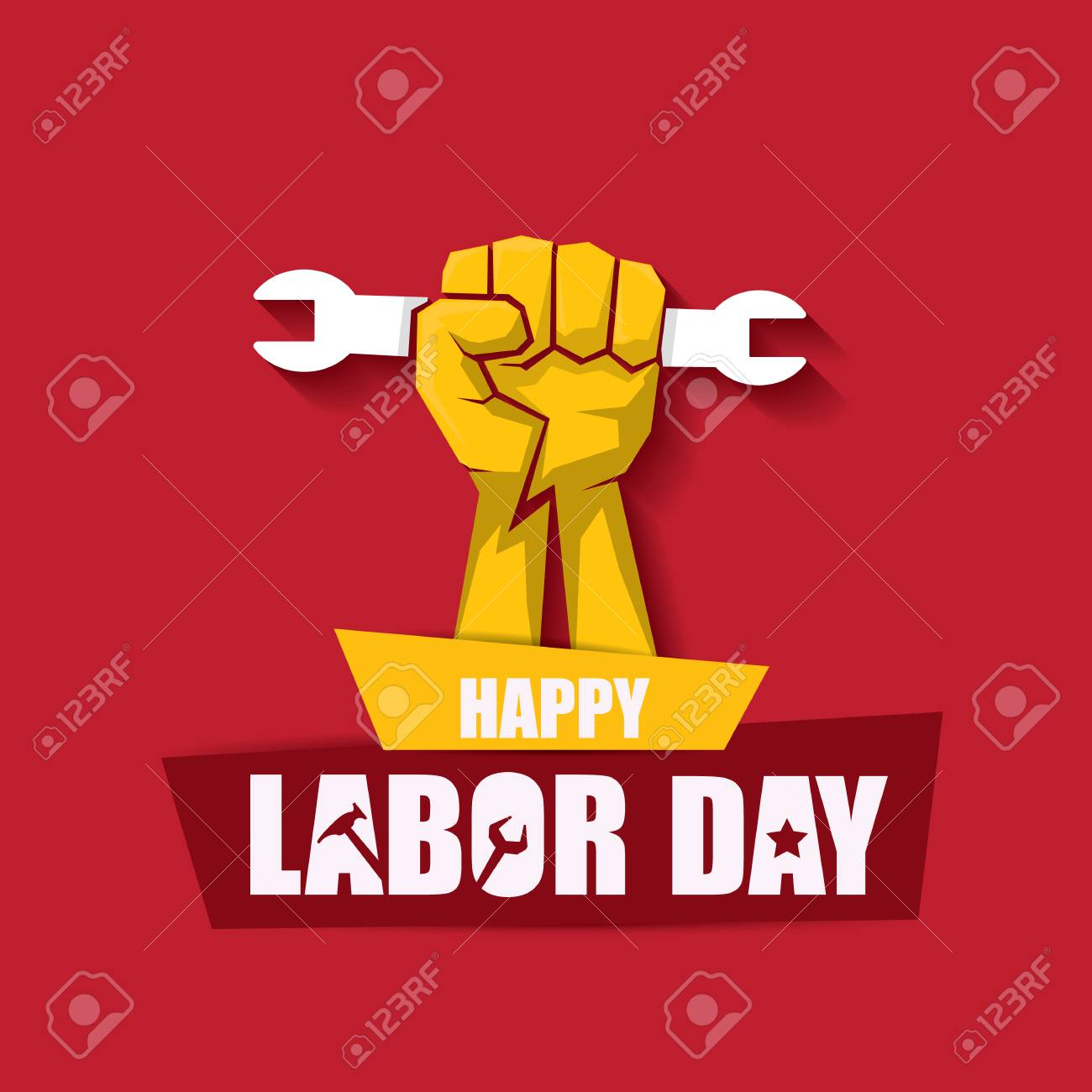 labor day Usa vector label or banner background. vector happy labor day poster or banner with clenched fist isolated on red . Labor union icon - 105482530