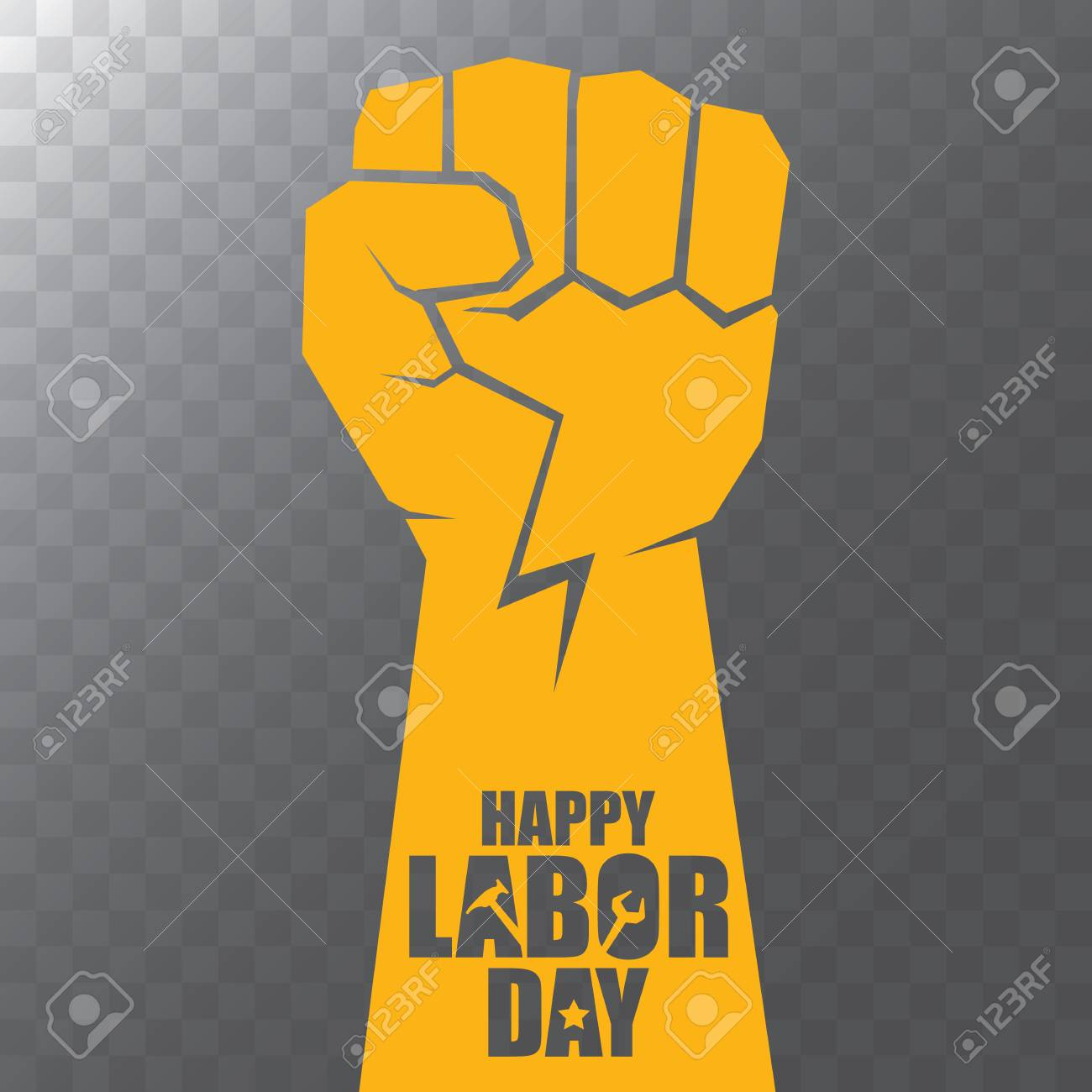 vector labor day Usa label or background. vector happy labor day poster or banner with clenched fist isolated on transparent background . Labor union icon - 106231540