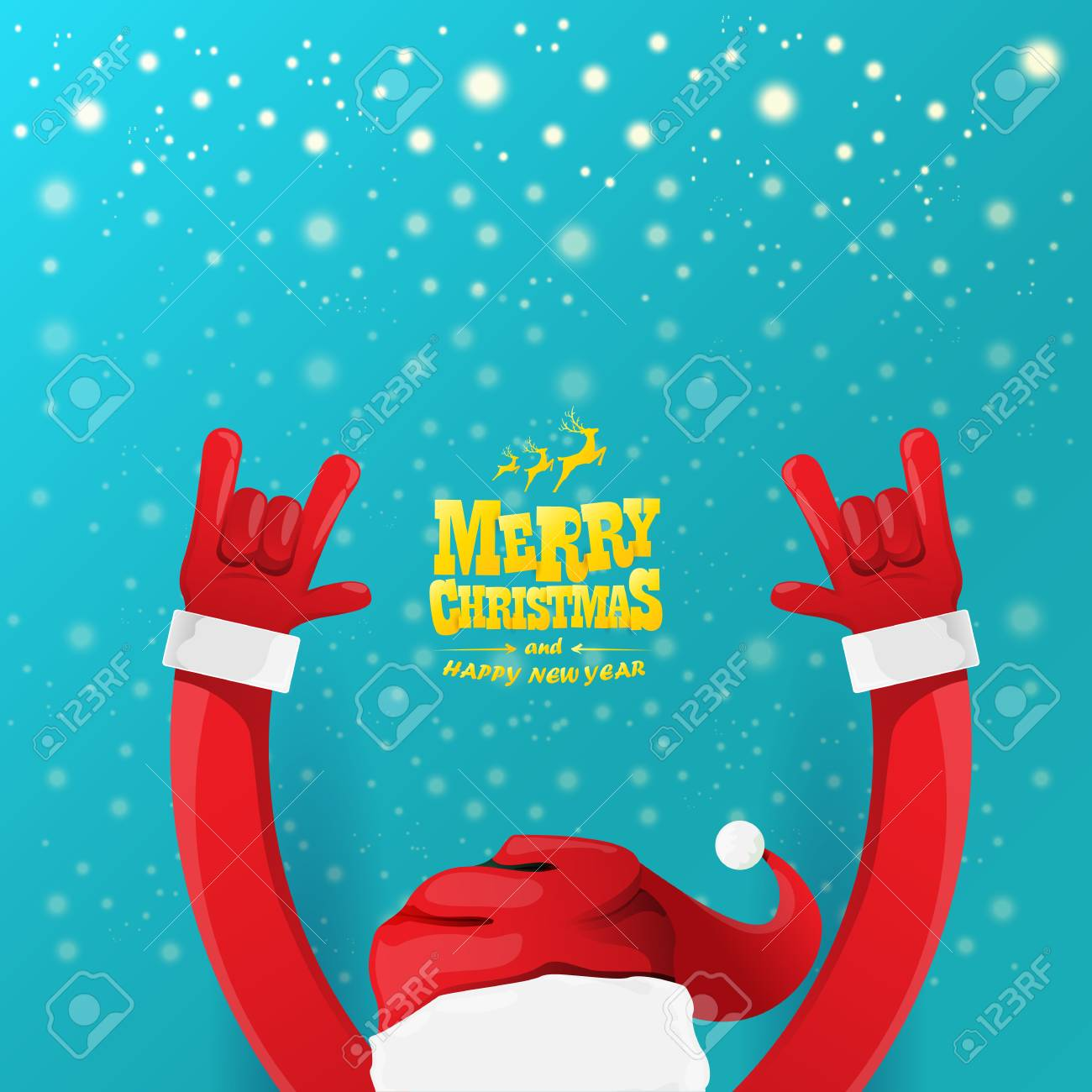 Christmas Rock.Vector Cartoon Rock N Roll Santa Claus Character With Gold Calligraphic