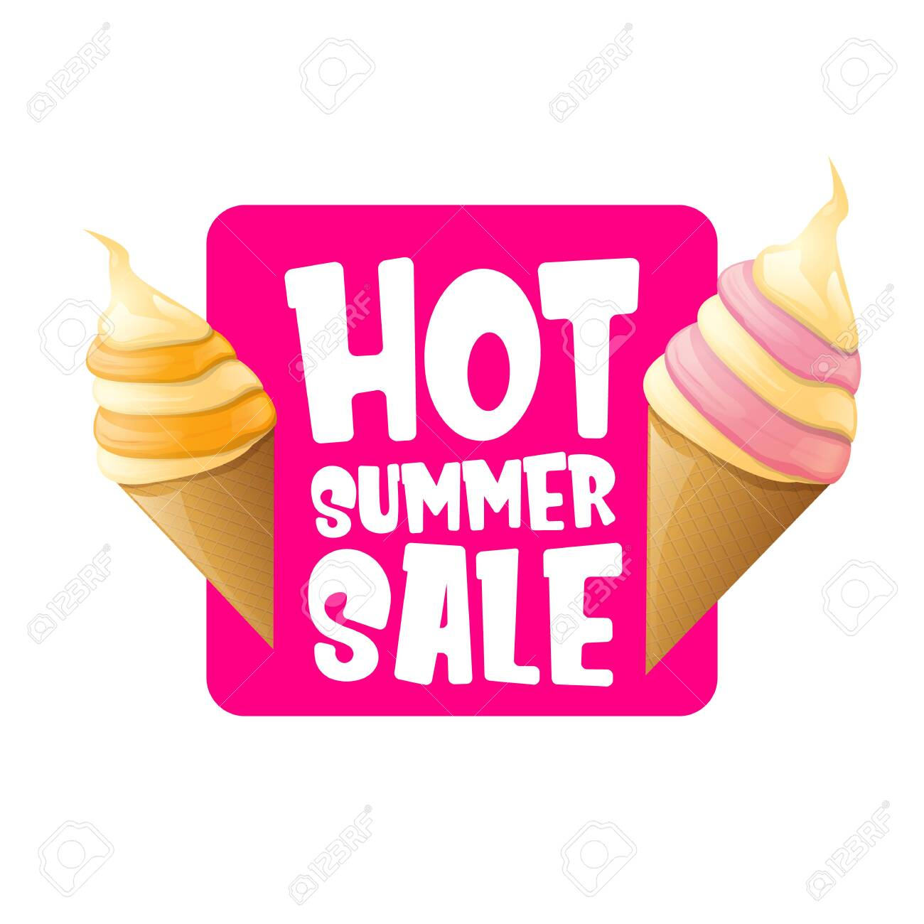hot summer sale label or tag with melting ice cream. Vector hot summer sale pink banner or icon. - 124824198