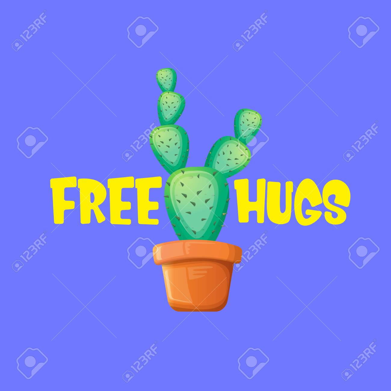Free hugs text and cartoon green cactus in pot isolated on violet