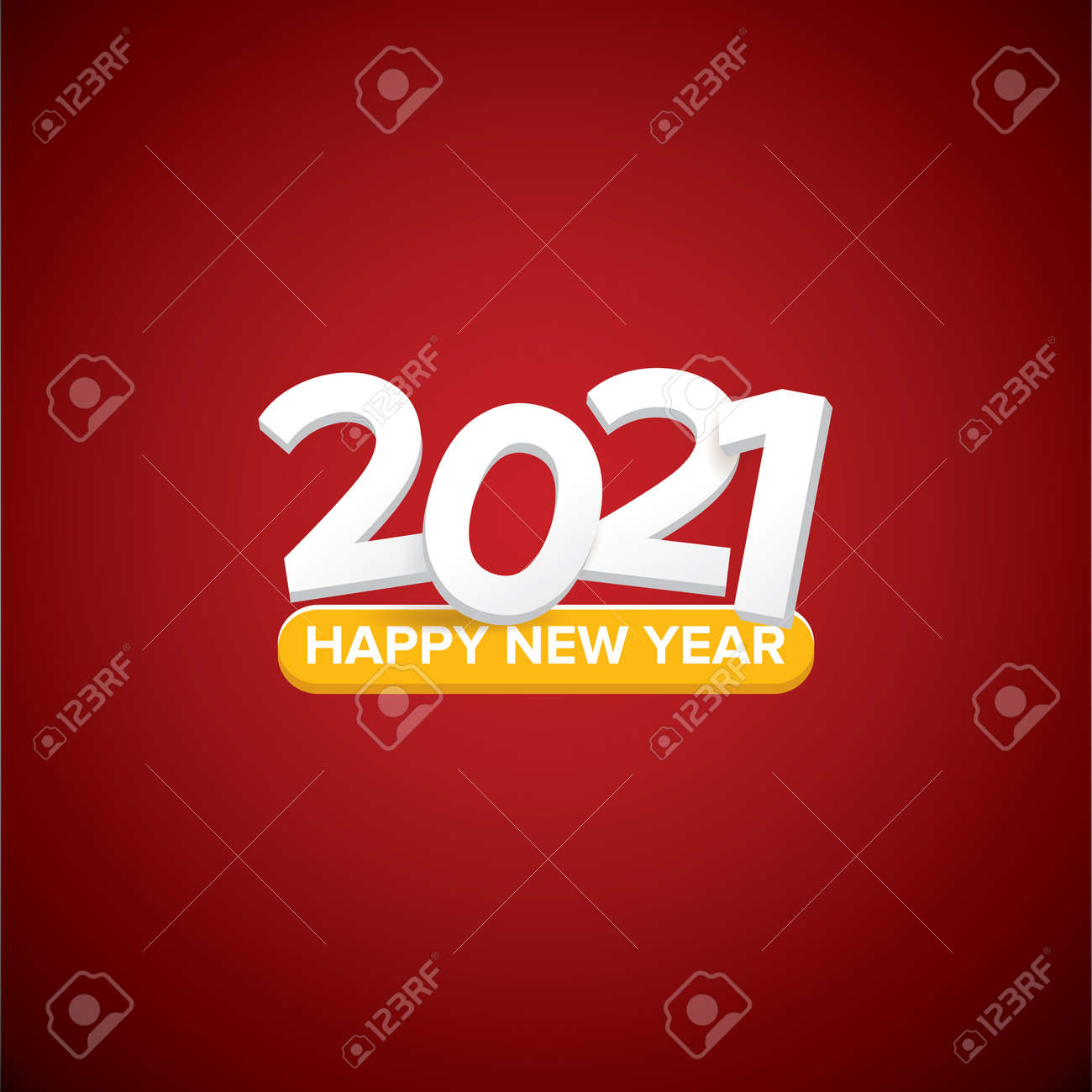 2021 Happy new year creative design background or greeting card with text. vectorr 2021 new year numbers isolated on red on blue background - 154090252