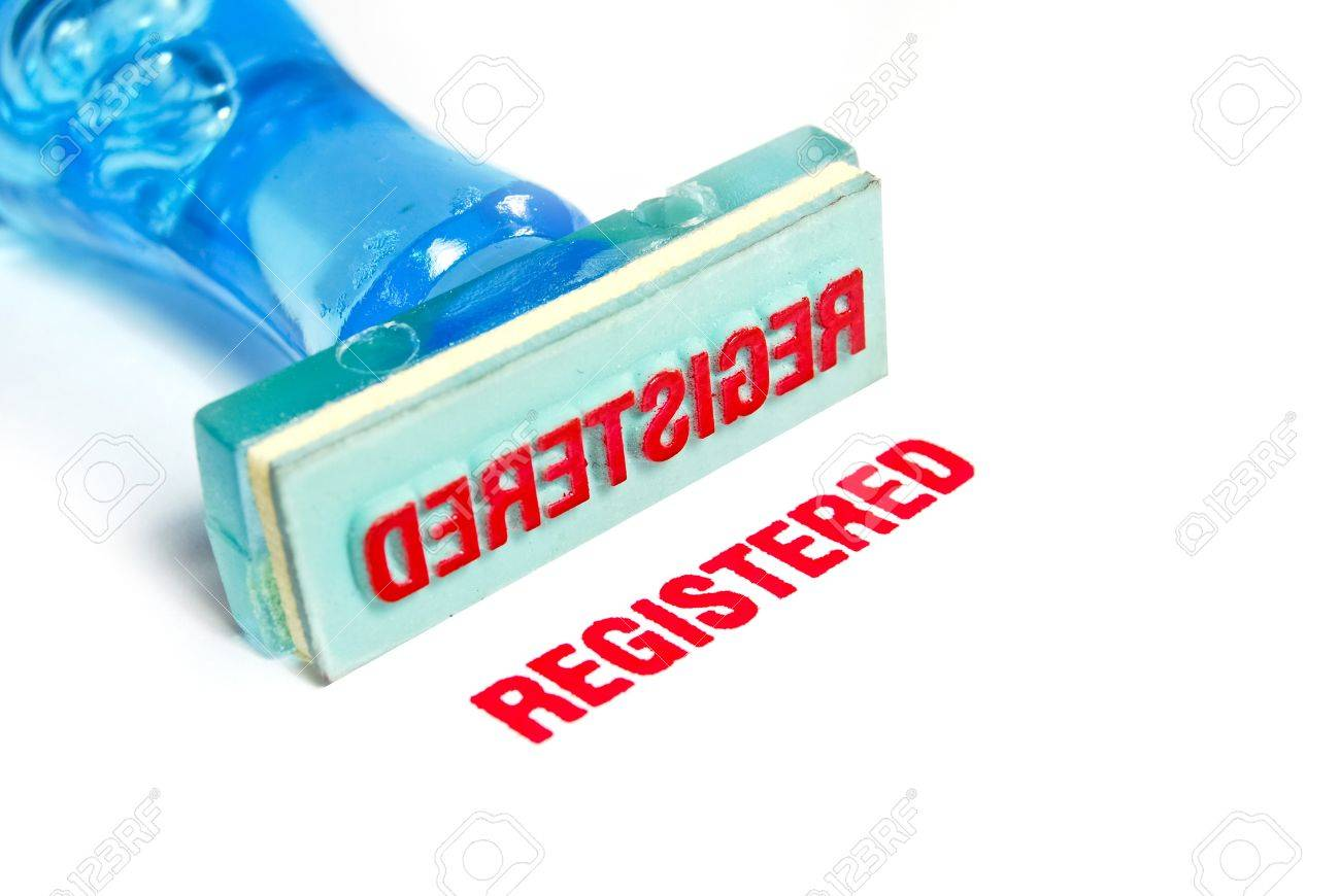 registered letter on blue rubber stamp isolated on white