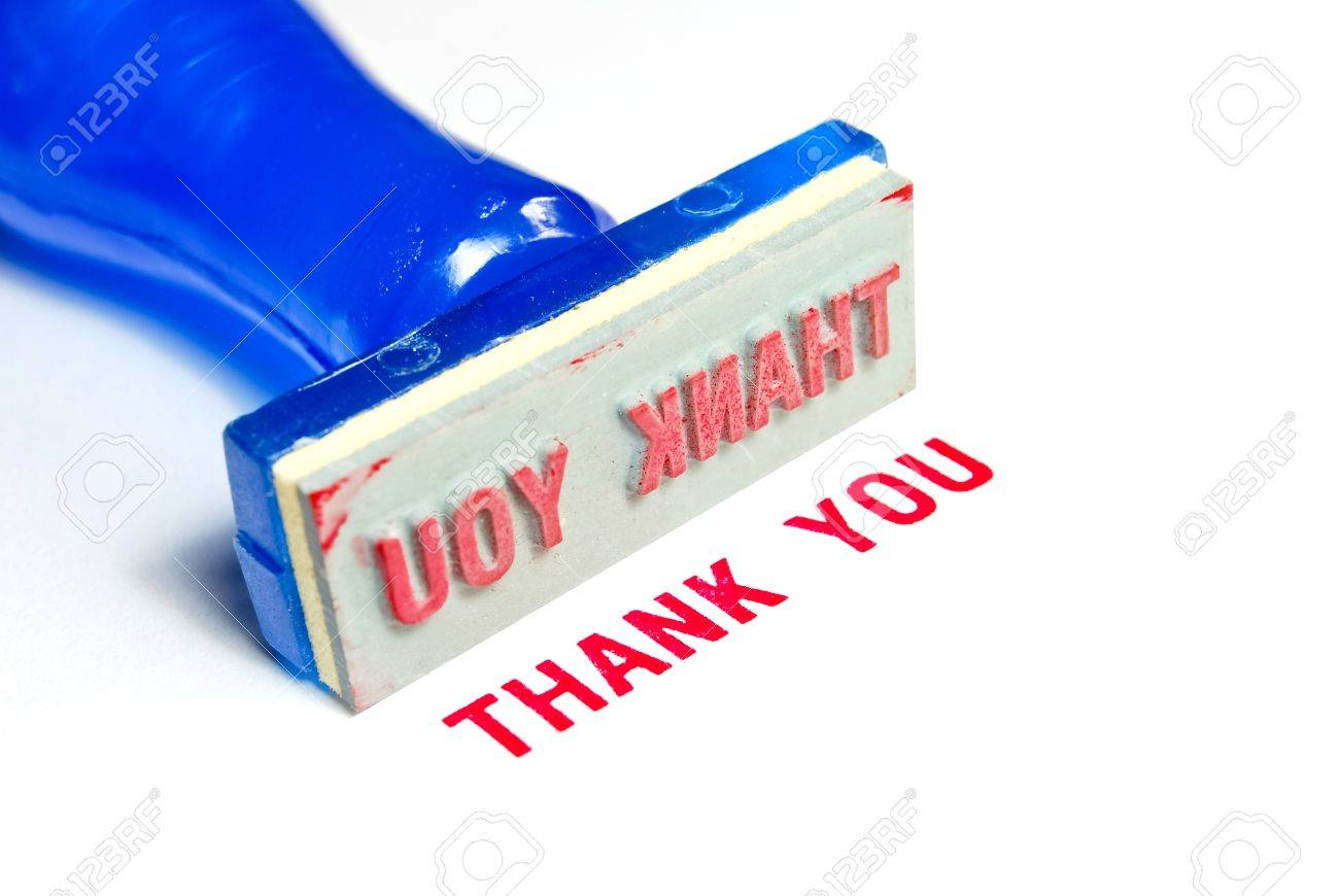 thank you letter on blue rubber stamp isolated on white background Stock Photo - 8797468