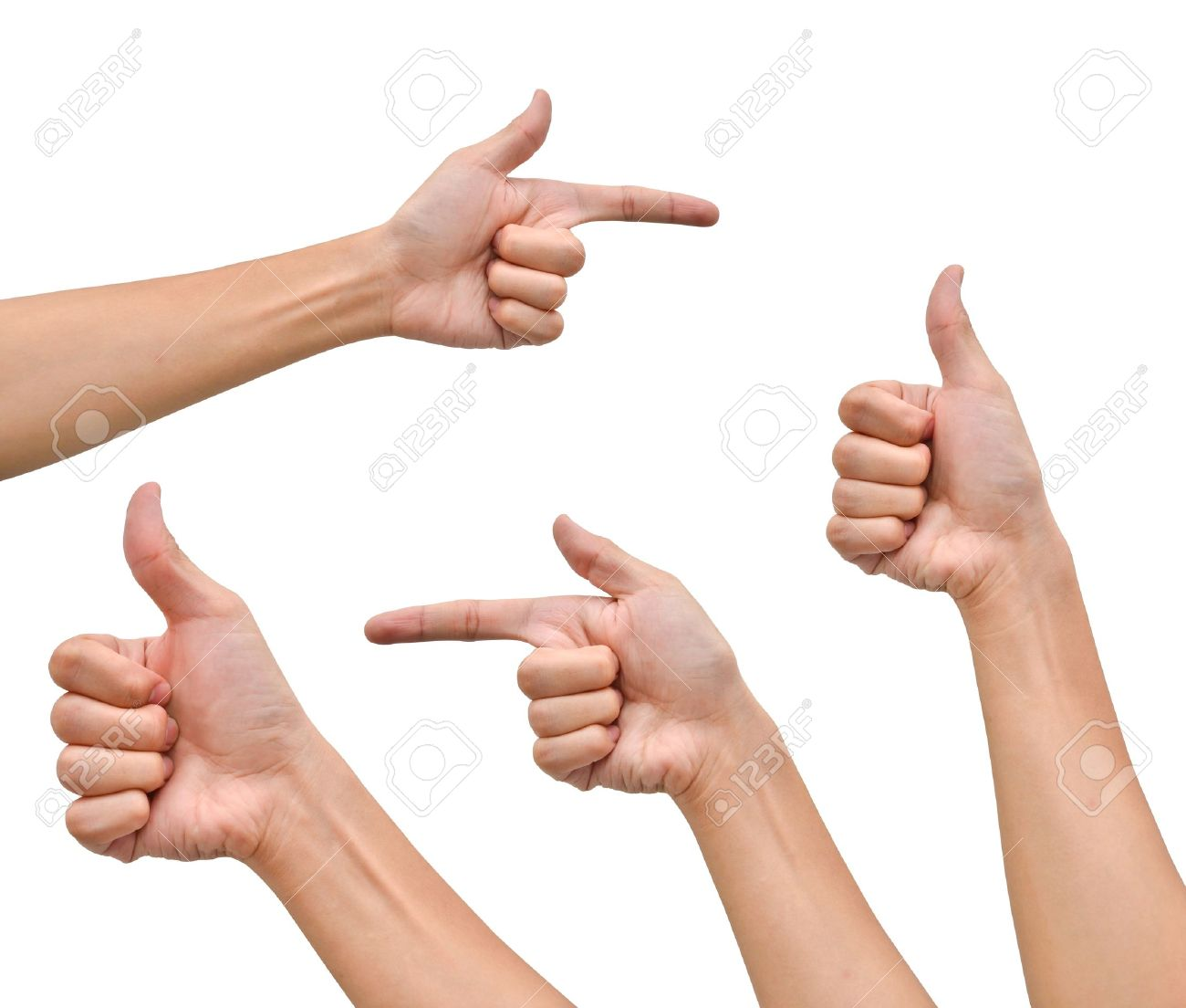 variety of hands in different poses on white background stock photo