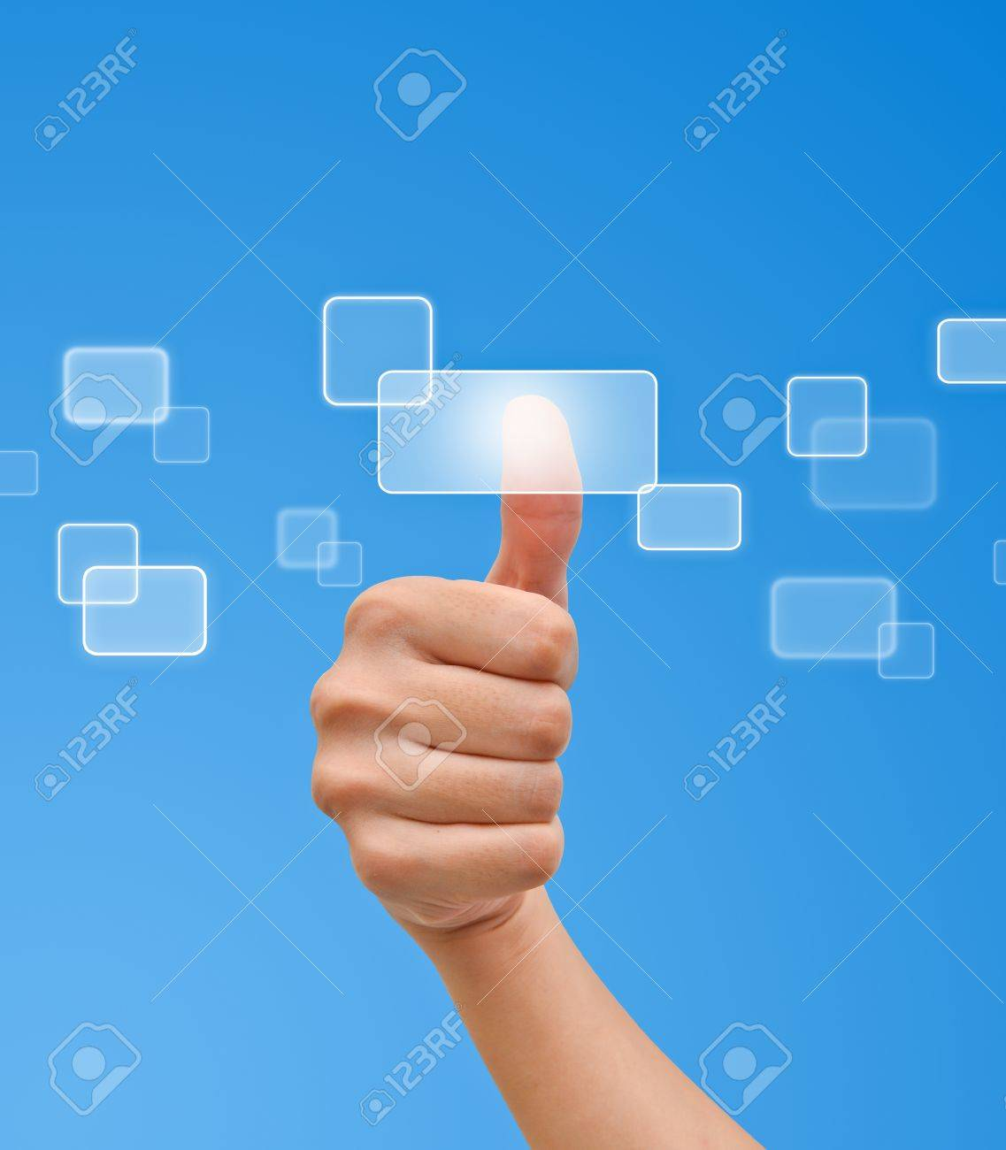 Hand pressing button on the flow of button Stock Photo - 9727580