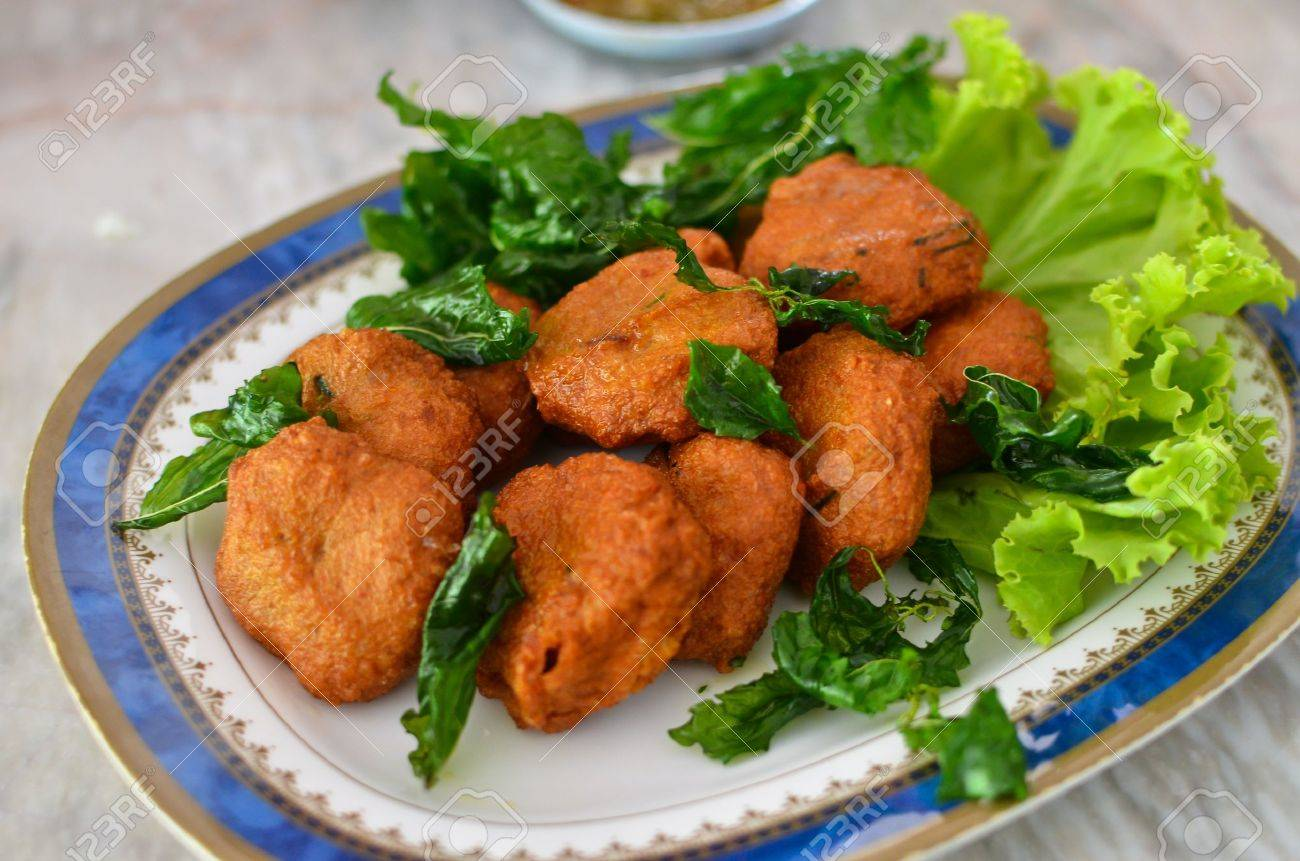 Spicy fried fish ball , Thai style food Stock Photo - 9990163