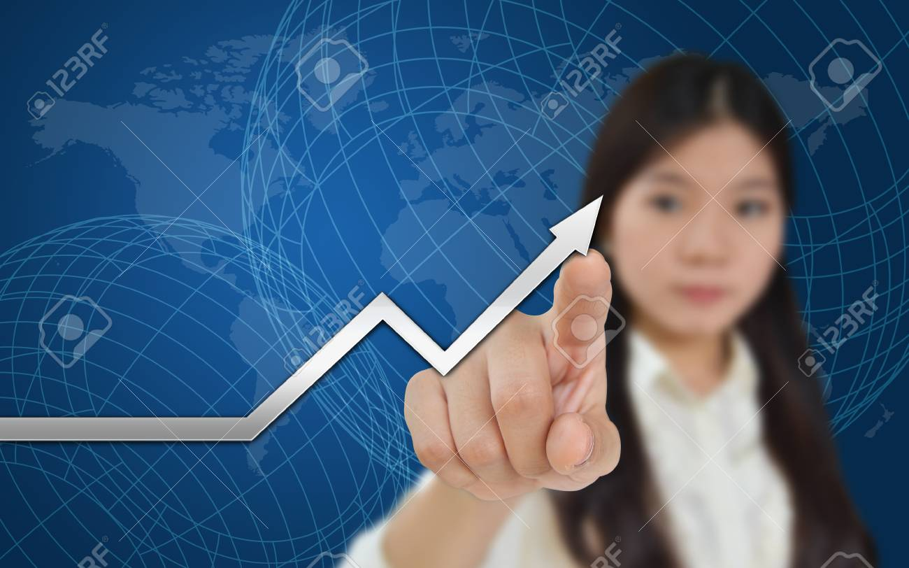 Business woman and a graph showing growth of business Stock Photo - 11269962