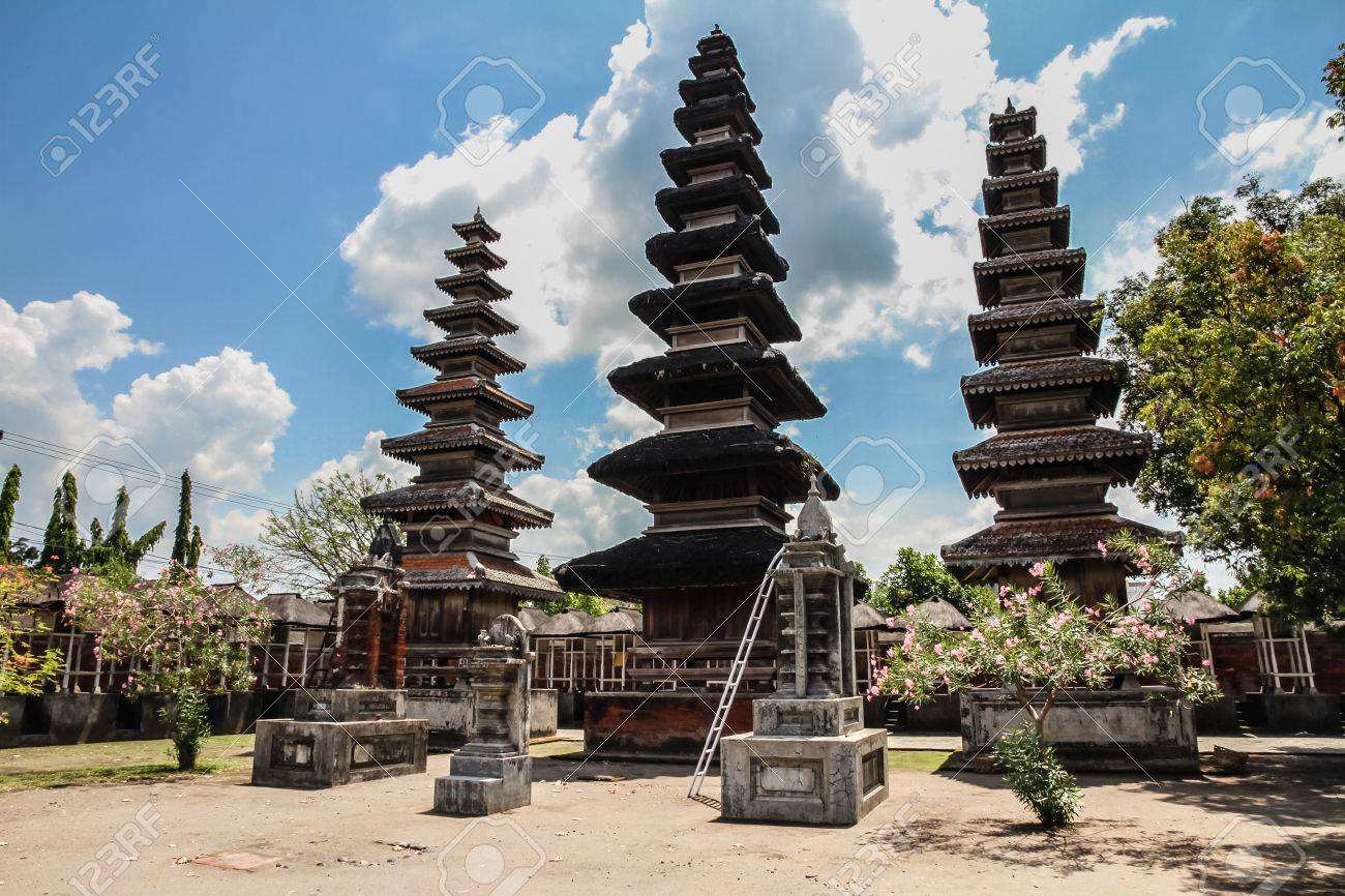 Pura Meru Hindu Temple with Cloudy Blue Sky - Mataram, Lombok - 43806083
