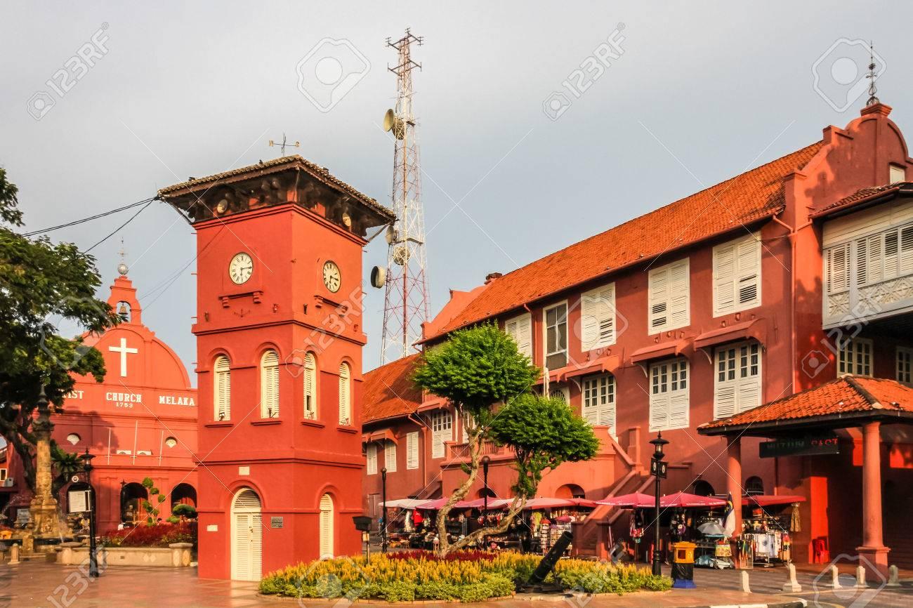 City center of Melaka with Church and Tower during Sunset - Melaka, Malaysia - 43723961