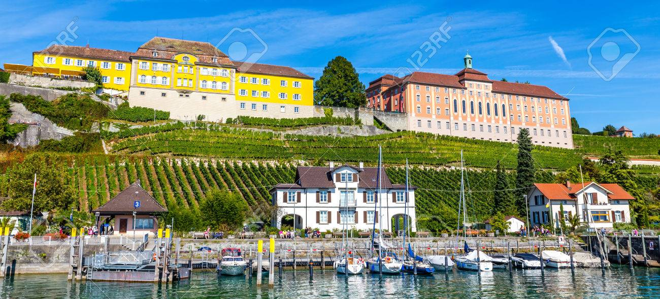 Amazing Summer View Of The Wurttemberg States Winery and The High School in Meersburg-Meersburg,Lake Constance,Germany,Europe - 47407799