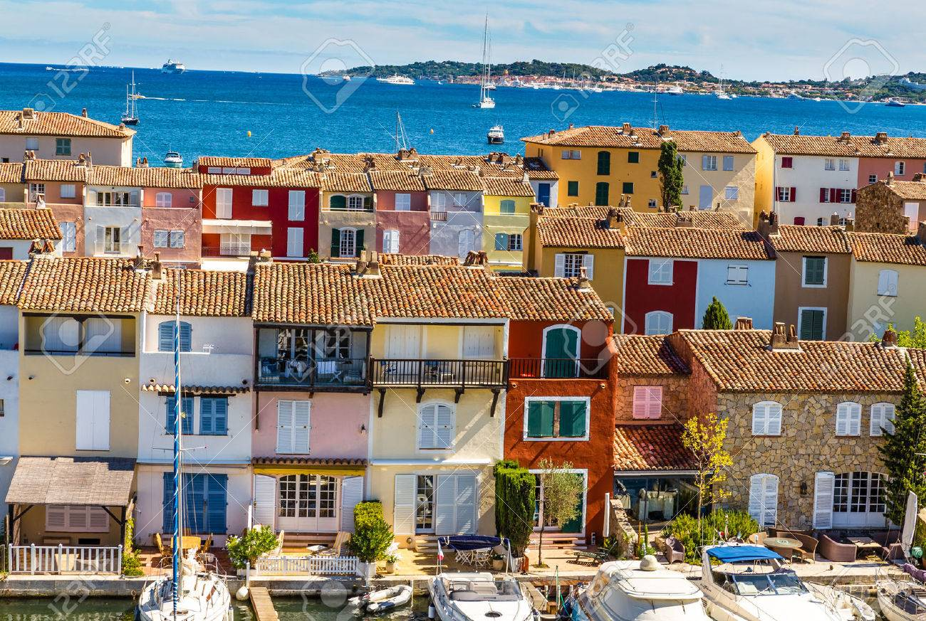 View Of Colorful Houses And Boats In Port Grimaud During Summer Day-Port Grimaud, France - 49135308