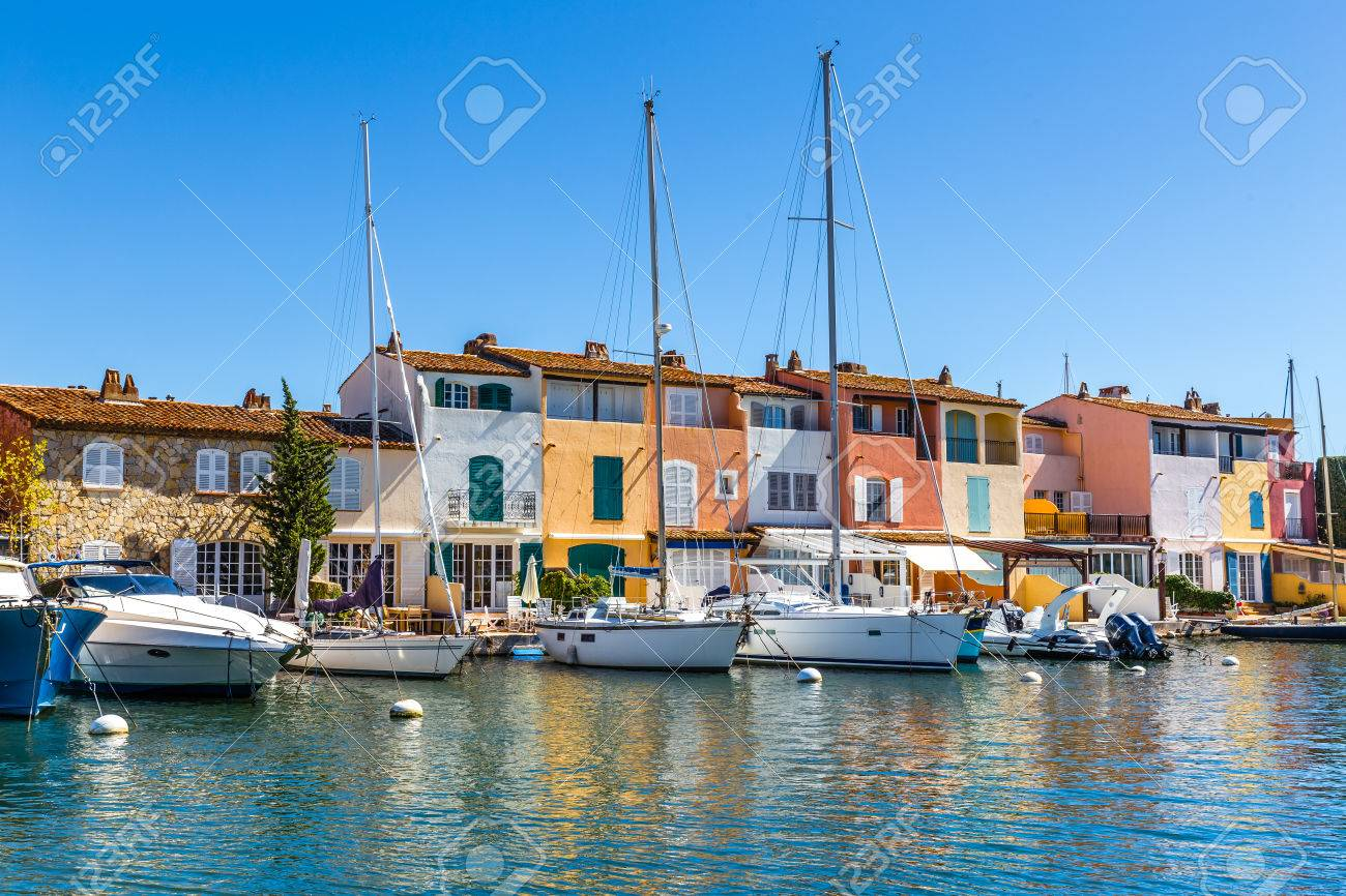 View Of Colorful Houses And Boats In Port Grimaud During Summer Day-Port Grimaud, France - 49138553