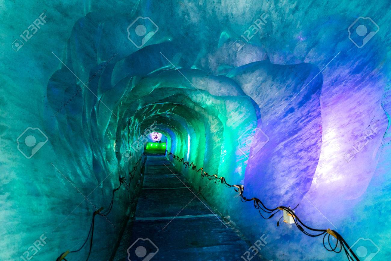 Colorful Icy Corridor In Ice Cave Digged Inside Mer De Glace Glacier-Mont Blanc Massif,Chamonix,France - 50475597
