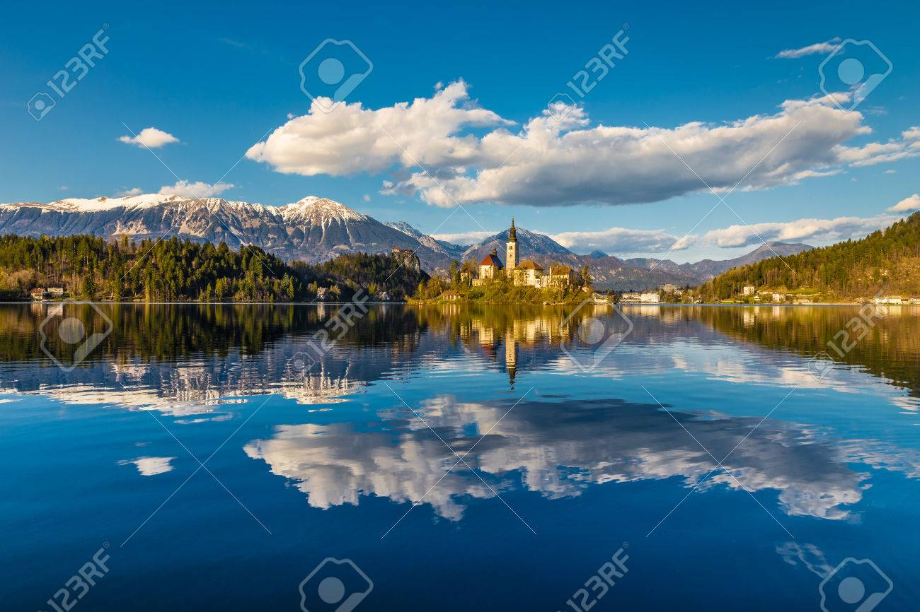 Amazing View On Bled Lake, Island,Church And Castle With Mountain Range Stol, Vrtaca, Begunjscica In The Background-Bled,Slovenia,Europe - 51074964