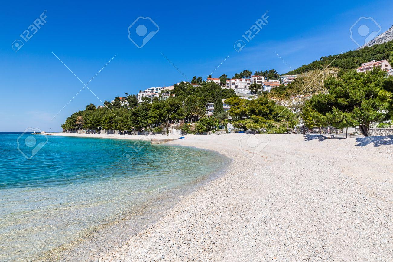 Beautiful Empty Sandy Beach During Sunny Summer Day - Baska Voda, Makarska, Dalmatia, Croatia - 54734656