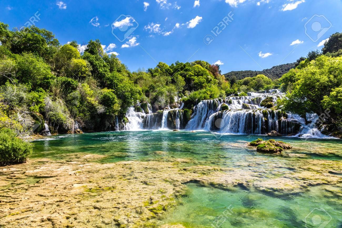 Beautiful Skradinski Buk Waterfall In Krka National Park - Dalmatia Croatia, Europe - 55968499