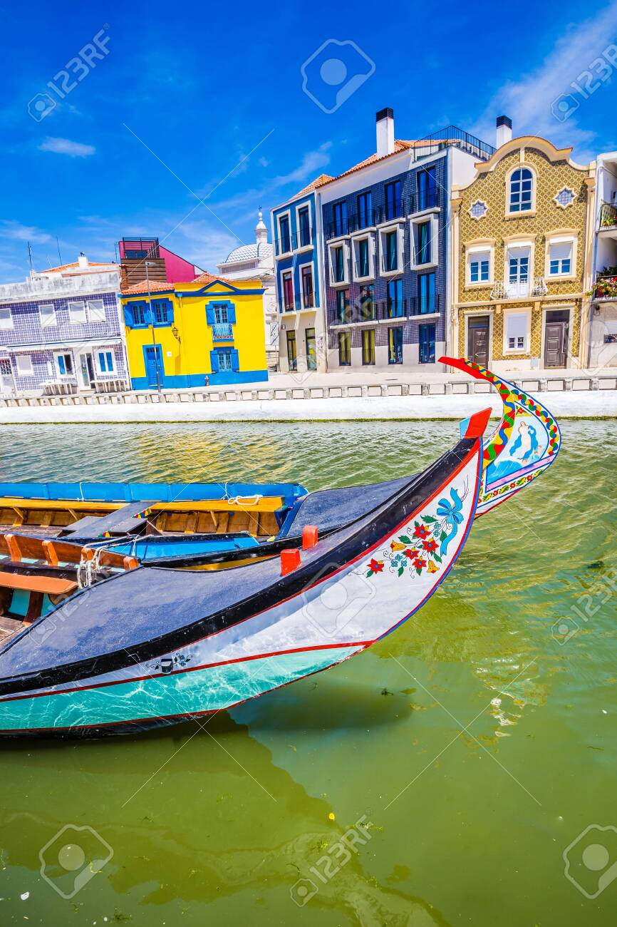 Colorful Art Nouveau Buildings And Boats In Aveiro, Centro Region of Portugal, Europe - 146817791
