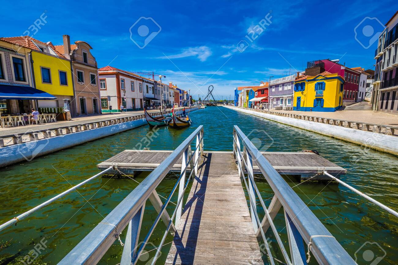 Colorful Art Nouveau Buildings And Boats In Aveiro, Centro Region of Portugal, Europe - 146817923