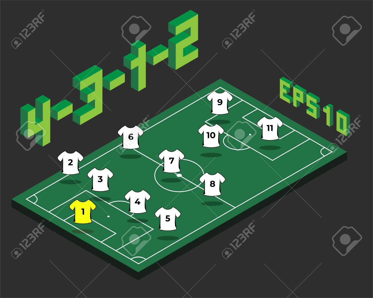 Football 4 3 1 2 Formation With Isometric Field Soccer Popular Strategy