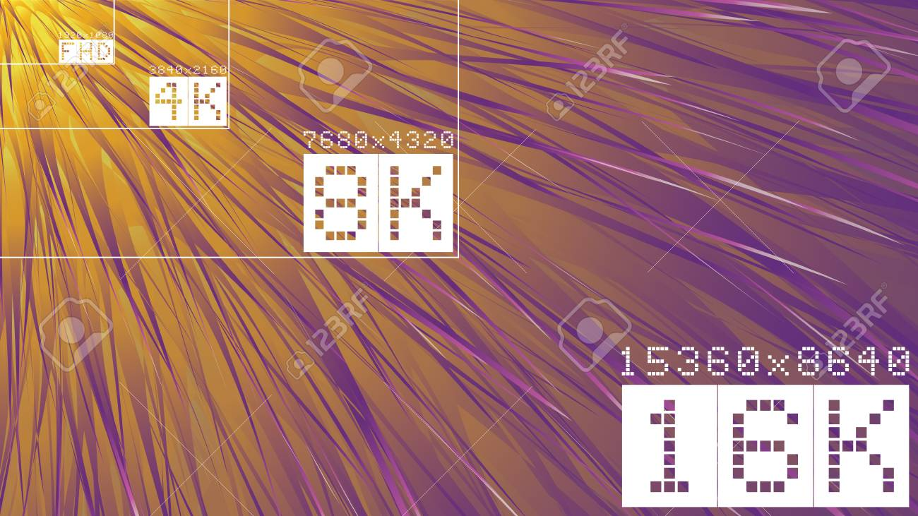 Ultra high resolution 16k comparison mock up with abstract tv