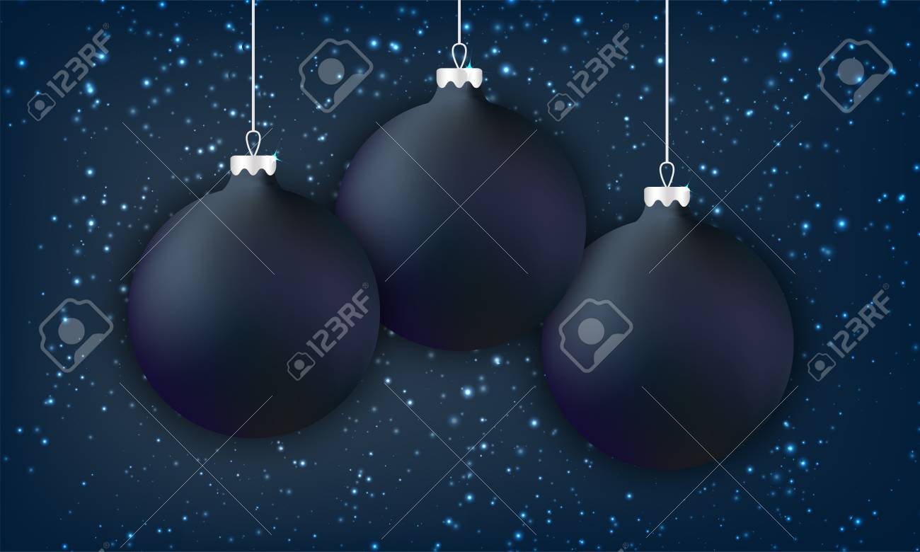 Black Christmas Balls.Black Christmas Balls On Dark Background With Glowing Snowflake