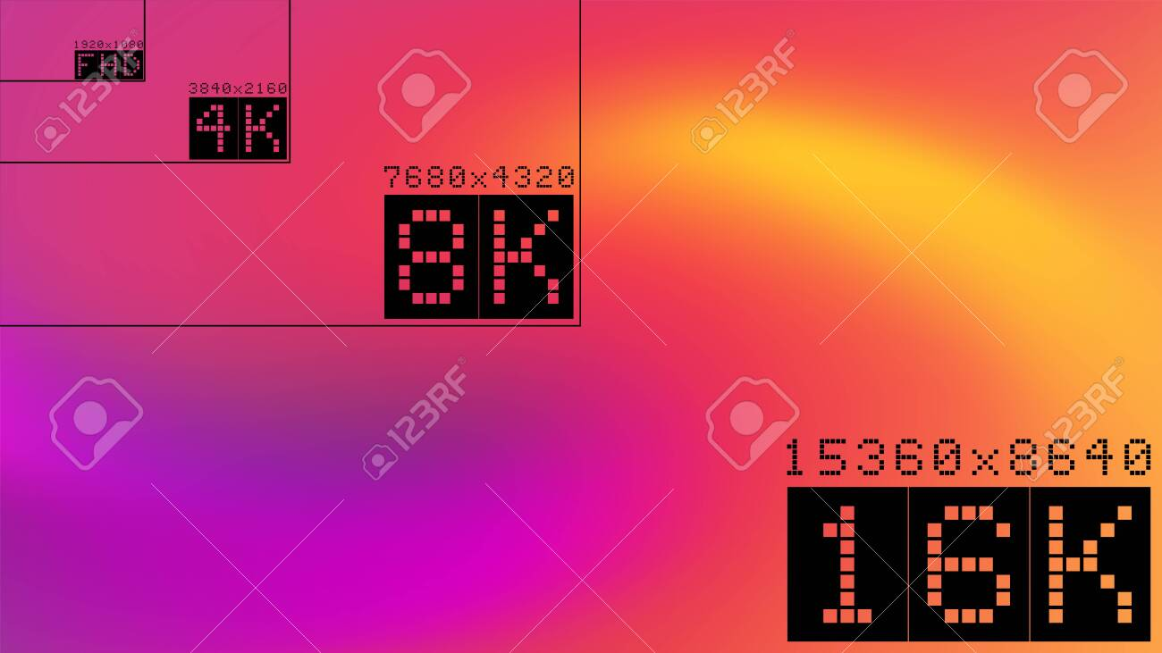 Ultra high resolution 16k comparison mockup with abstract tv