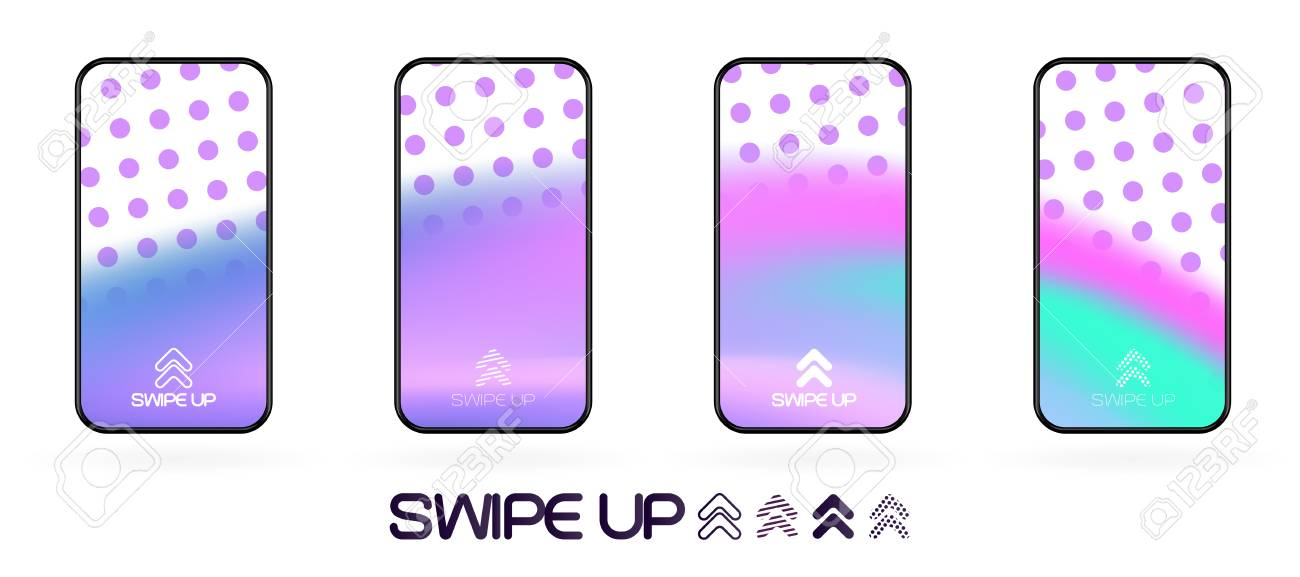 swipe up social app page template with arrows icon. abstract fluid gradient wavy backdrop vector mockup. Smartphone trendy bright colors techno futuristic background. High resolution best quality - 120618256