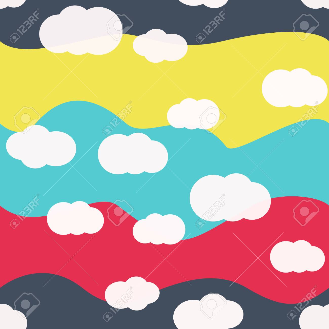 White Clouds On Bright Colors Background Vector Seamless Pattern Royalty Free Cliparts Vectors And Stock Illustration Image 121219350