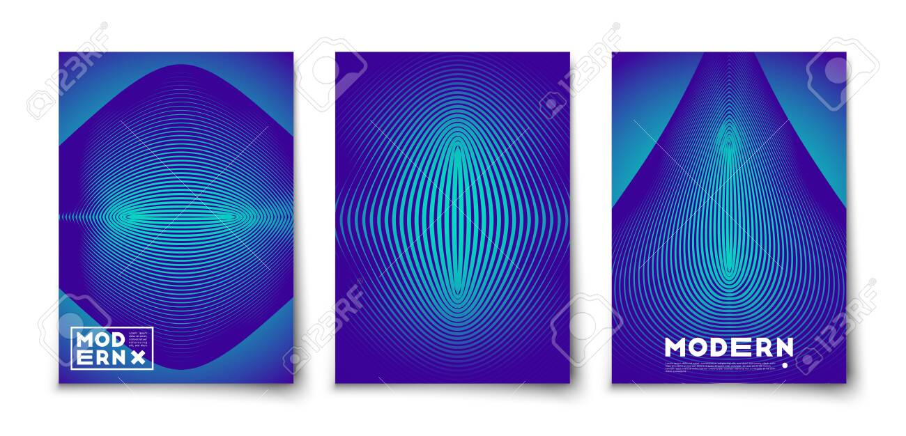 Minimal vector geometric abstract elements texture covers design set mockup. Line figures with halftone gradients - 135383363