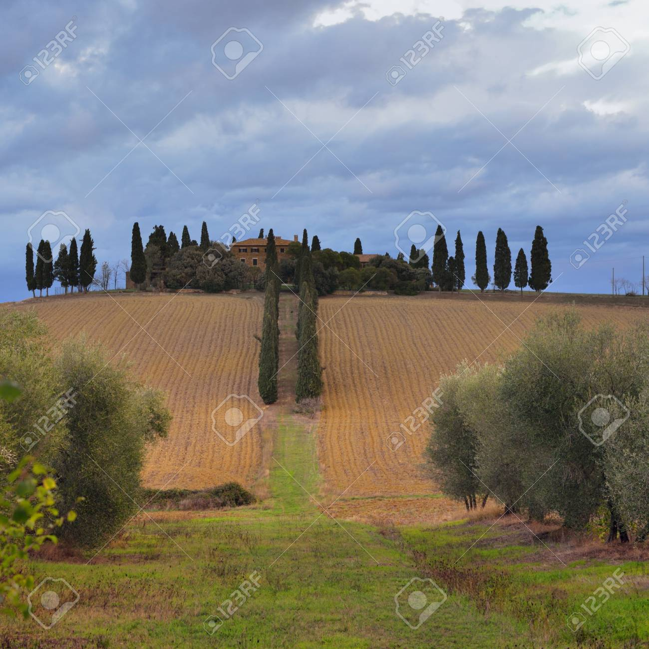 Idyllic rural Tuscan landscape with old farmhouseon the hill, Vall d Stock Photo - 17094906