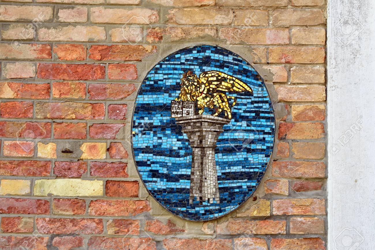 Murano, Italia - 26 De Septiembre 2014: Mosaico De León De San ...