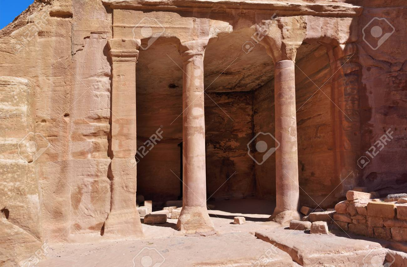 The Garden Hall In Lost City Of Petra, Jordan Stock Photo, Picture ...