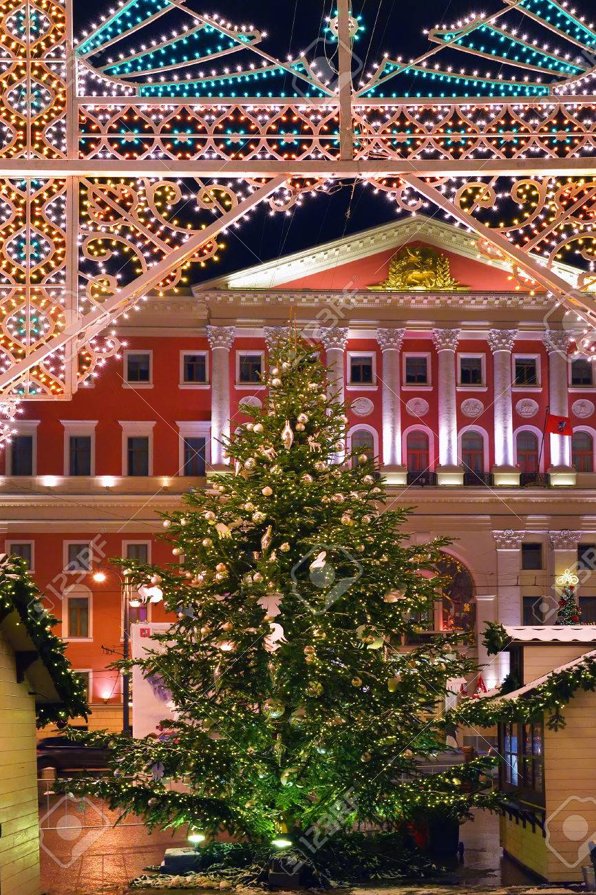 New Year And Christmas Lighting Decoration Of The City Hall