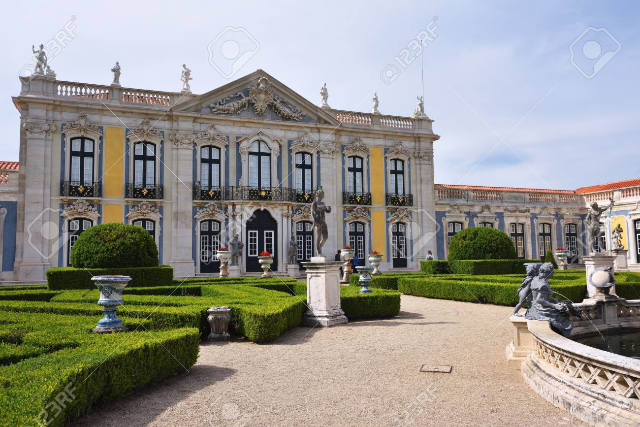 Beau Queluz, Portugal   June 3, 2017: Neptune Gardens, Fountain Baroque And The