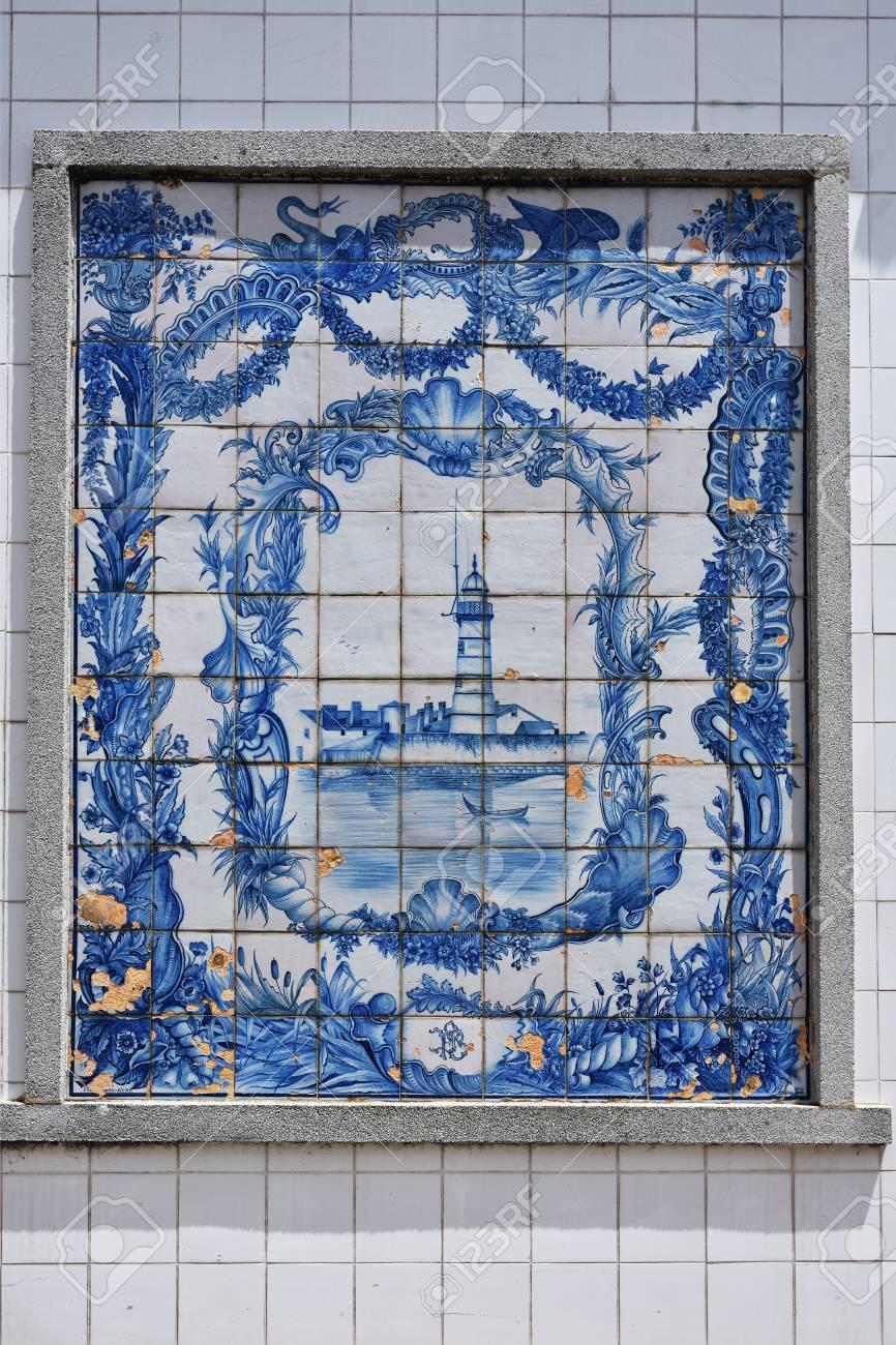 Aveiro, Portugal - June 10, 2017: Ancient Blue Azulejo Panel.. Stock ...