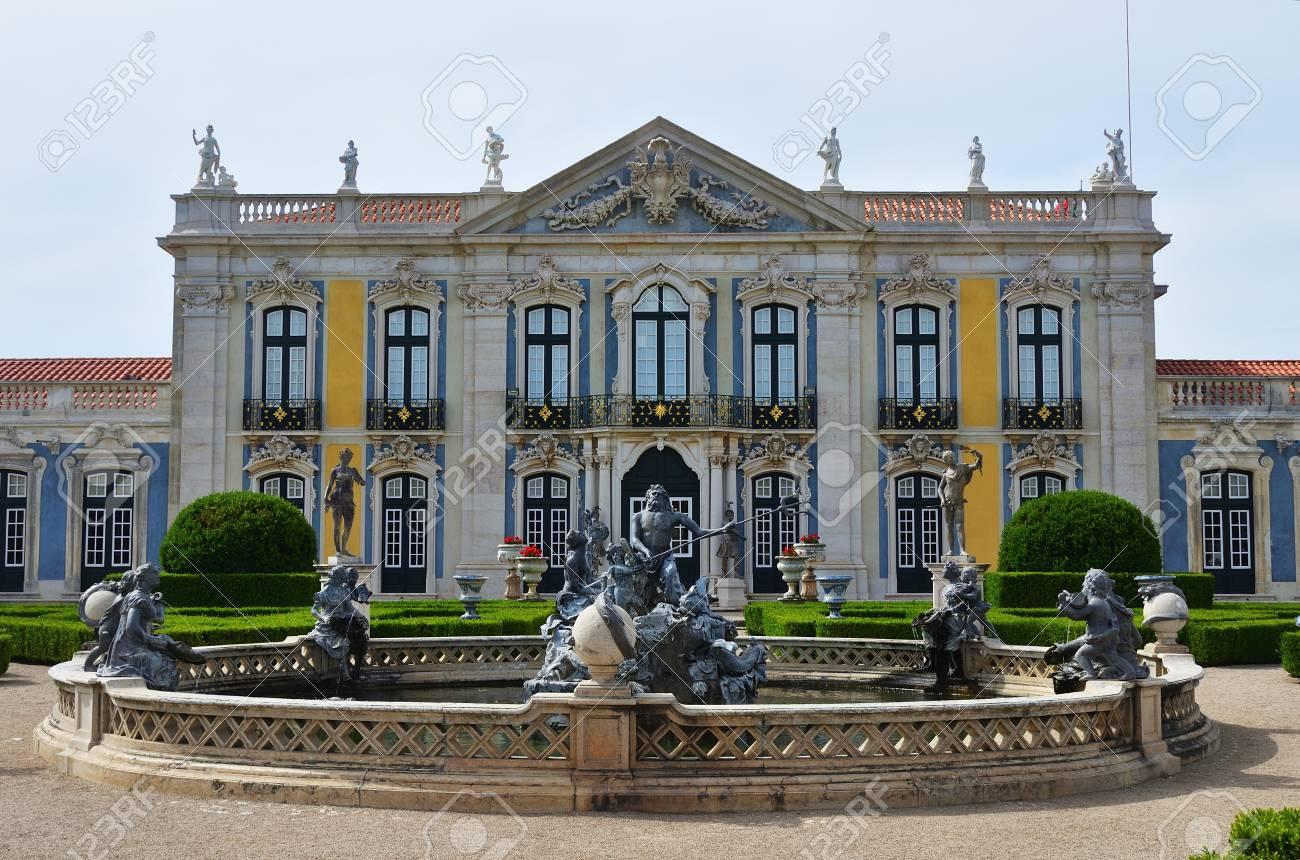 Queluz, Portugal   June 3, 2017: Neptune Gardens, Fountain Baroque And  Facades