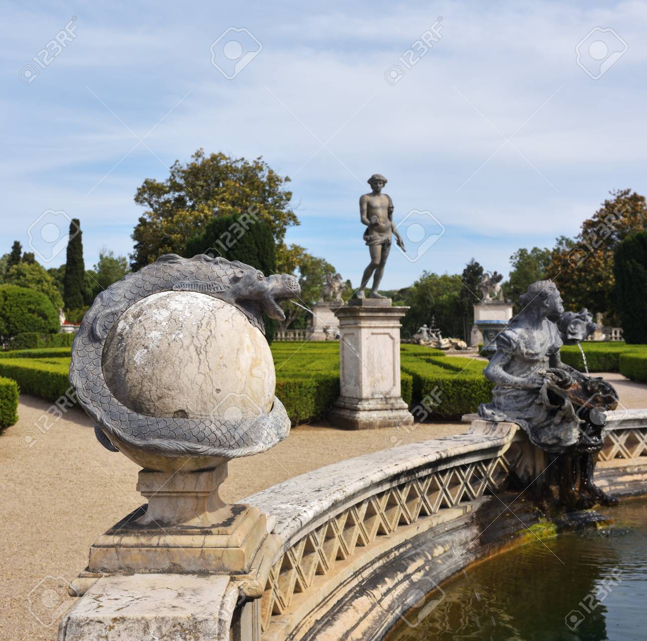 Queluz, Portugal   June 3, 2017: Neptune Gardens, Fountain Baroque In The