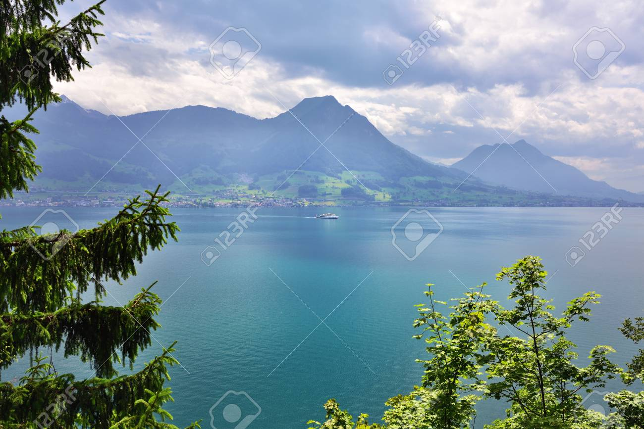 Beautiful view on the lake Luzerne at sunrise, Switzerland