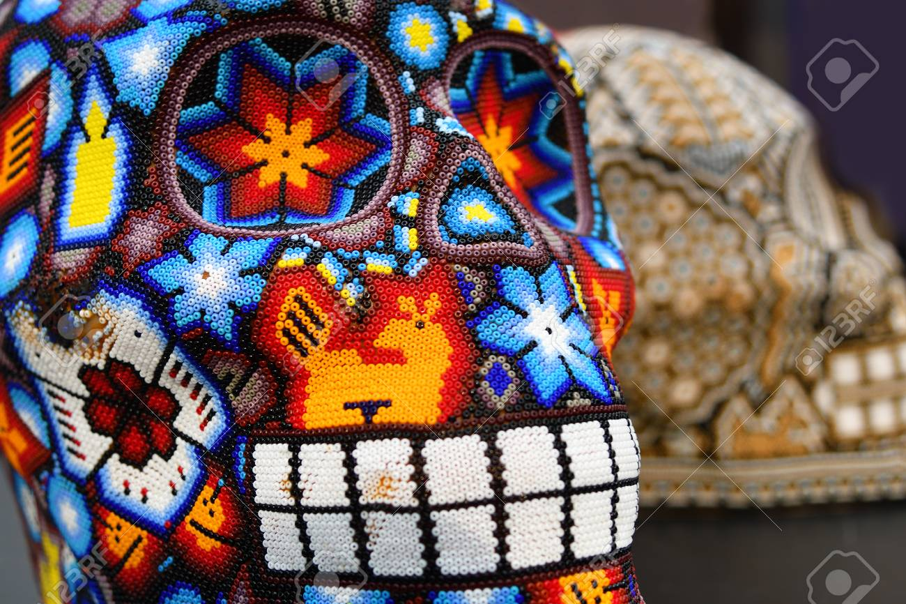Colourful Skull From Mexican Traditional Huichol Bead Art Symbol Of The Day Dead