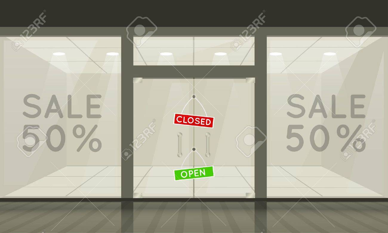 Shop with glass windows and doors, front view. Vector exterior. Stock Vector - 11613693