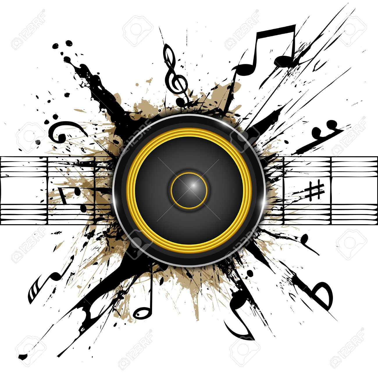 Abstract background  Sound speaker on ink stains  Part of music set Stock Vector - 12490636