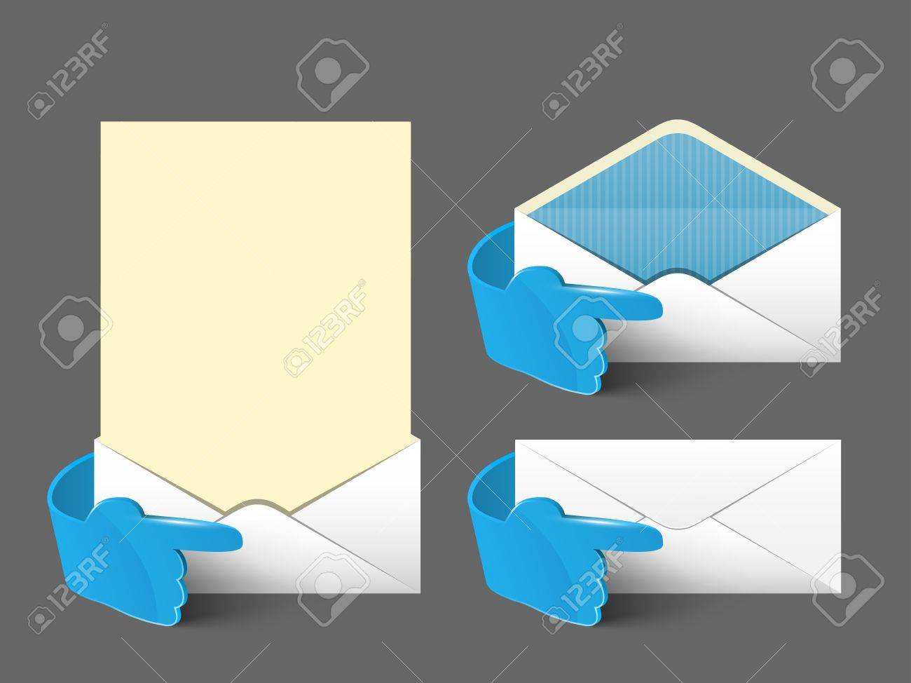 Vector post envelope and letter set  with 3d blue glass hand  Web signs element Stock Vector - 12490290