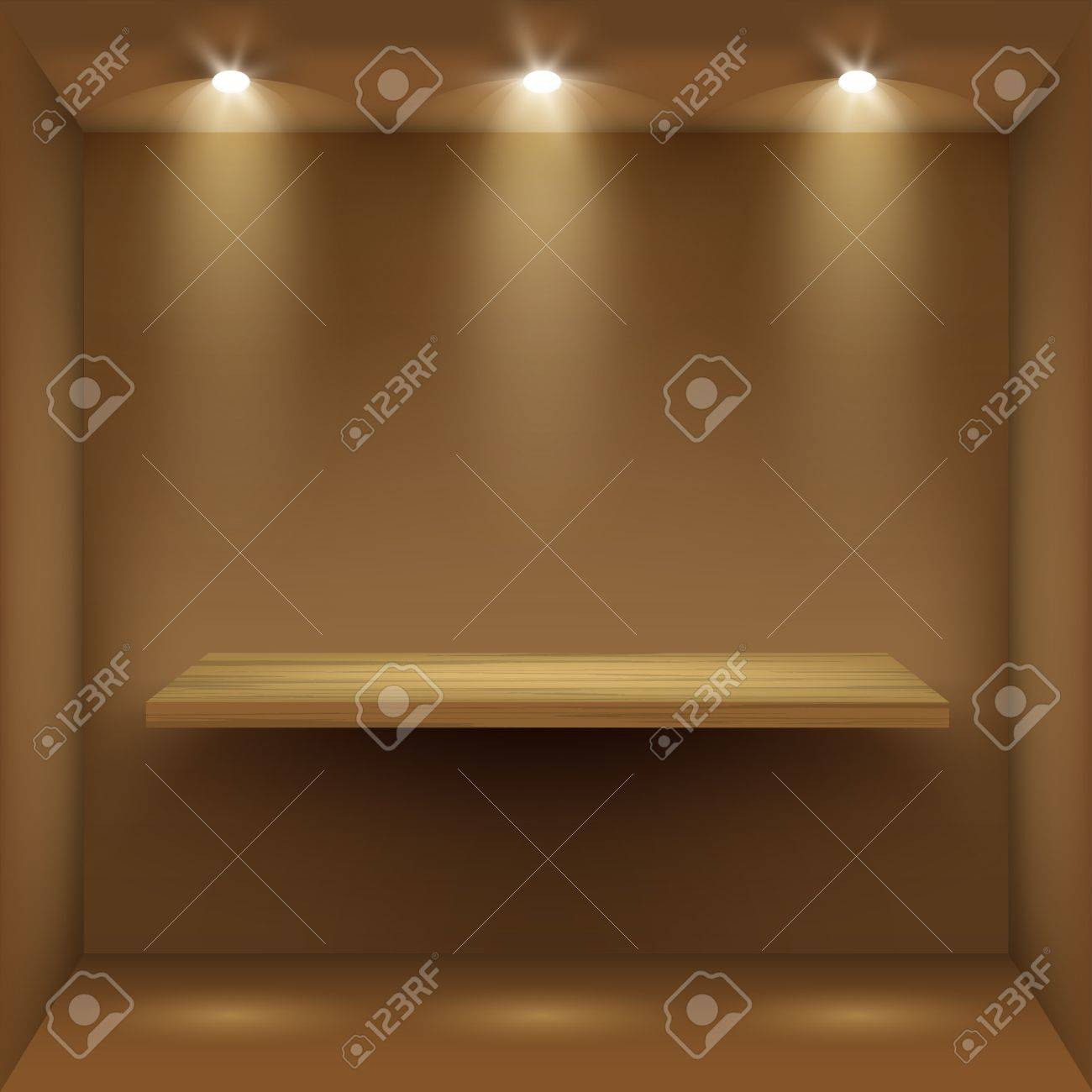Interior wooden shelves free vector - Empty Wooden Shelf In Room Illuminated By Searchlights Part Of Set Vector Interior Stock Vector