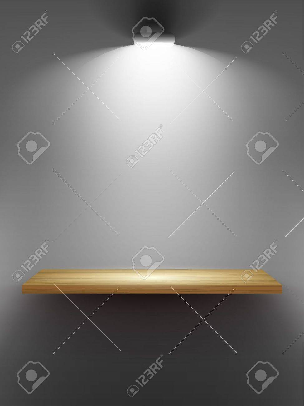 Interior wooden shelves free vector - Empty Wooden Shelf On The Wall Illuminated By Searchlights Part Of Set Vector Interior Stock
