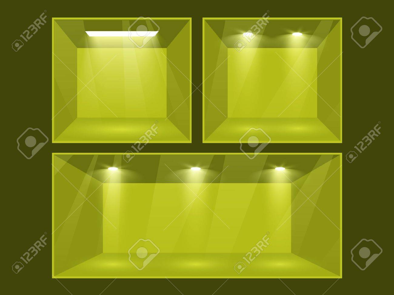 Empty green room set illuminated by searchlights  Part of set  Vector interior Stock Vector - 12490300