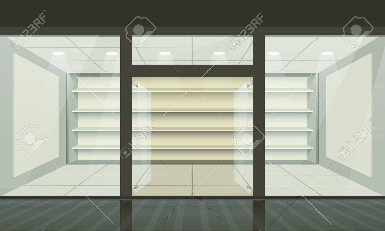 Shop with glass windows and doors, front view. Vector exterior. Stock Vector - 12490751